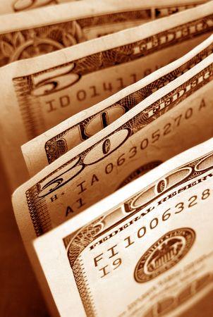 bankroll: Close up of US dollars