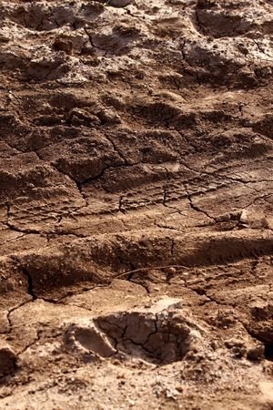 Dirt background with vehicle pattern track Stock Photo - 4772522