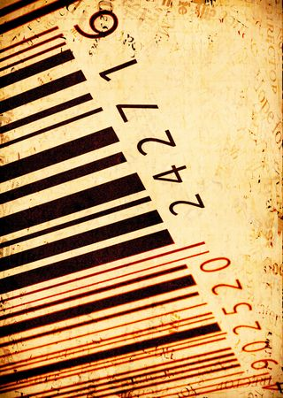 peper: Abstract Bar code labels  on old peper background Stock Photo