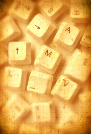 Close up of computer keys with old paper background Stock Photo - 4922963