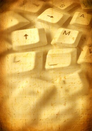 Close up of computer keys with old paper background Stock Photo - 4923007