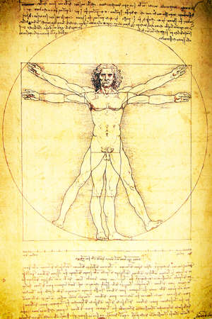 vitruvian man: Foto del Hombre de Vitruvio de Leonardo Da Vinci de 1492 en la textura de fondo. Foto de archivo