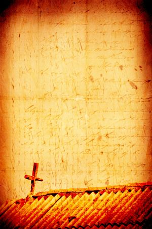 abstract symbolism: Holy cross with old yellow paper