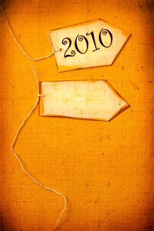 Close up of paper tag with 2010 photo