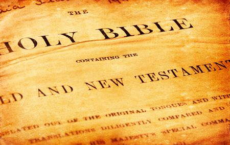 holy god: Close up of old Holy bible book Stock Photo
