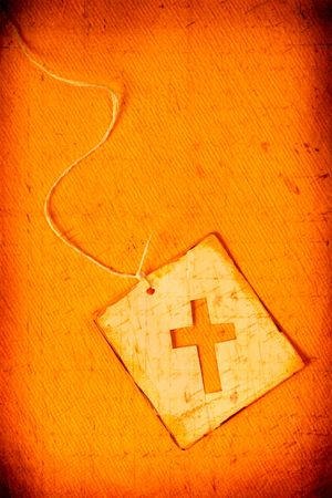 nazareth: Close up of handmade paper tag with holy cross Stock Photo