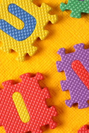 mathematical proof: Close up of alphabet and Number Blocks Stock Photo