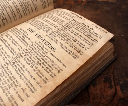 Close up of old Holy bible book photo