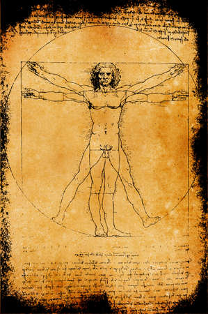 the Vitruvian Man by Leonardo Da Vinci from 1492 on textured background.  photo