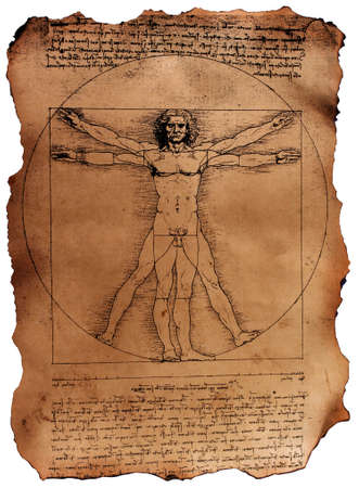 uomo vitruviano: Photo of the Vitruvian Man by Leonardo Da Vinci from 1492 on textured background.  Archivio Fotografico