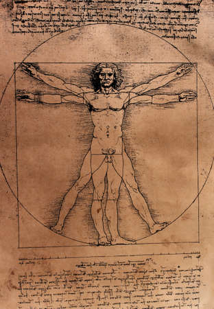 Vitruvian Man by Leonardo Da Vinci from 1492 on textured background.  photo