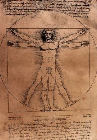 Vitruvian Man by Leonardo Da Vinci from 1492 on textured background.