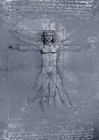 da vinci: Vitruvian Man by Leonardo Da Vinci from 1492 on textured background.