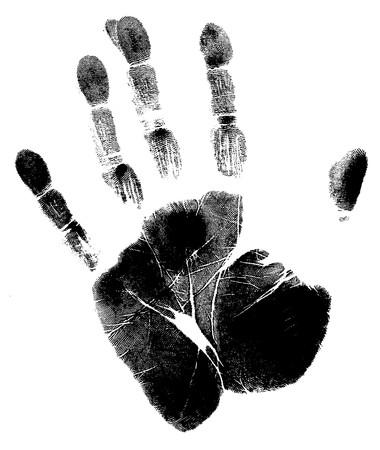 identidad cultural: Impresi�n de una mano humana con el �nico detalle