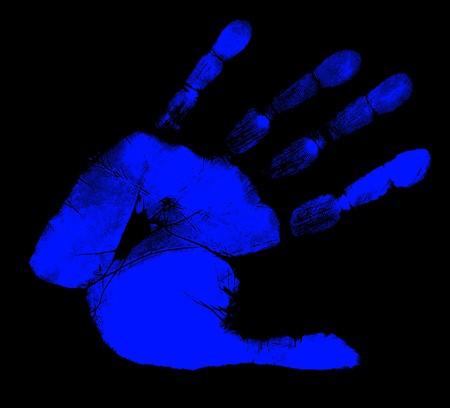 printout: Printout of human hand with unique detail