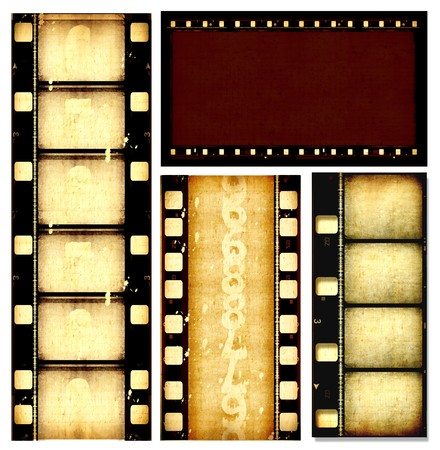 hollywood: Close up of vintage movie film strips Stock Photo