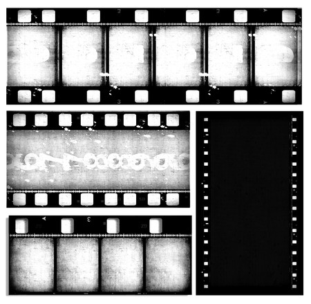 hollywood movie: Close up of vintage movie film strips Stock Photo