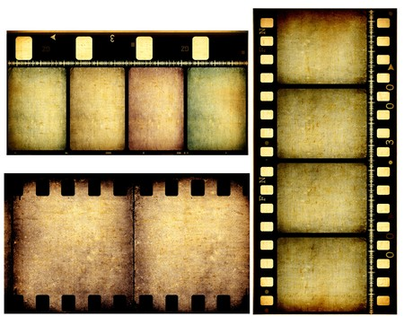 strips: Close up of vintage movie film strips Stock Photo