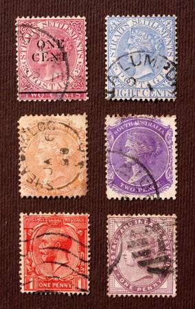 postage stamp frame: Close up of ancient old postal stamps
