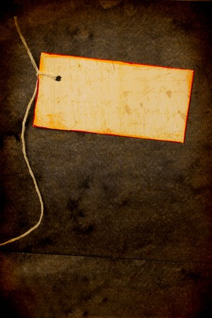 Close up of handmade paper tag for background photo