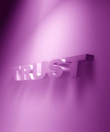 chiseled: 3D rendered TRUST text,3D art