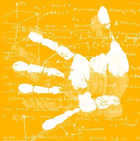 printout: Printout of human hand with mathematics