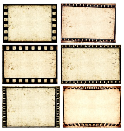 black picture frame: Close up of vintage movie film strips Stock Photo