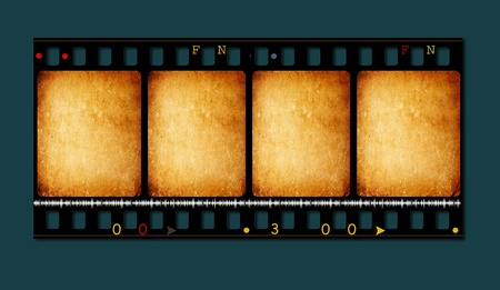 Close up of old movie film strips photo