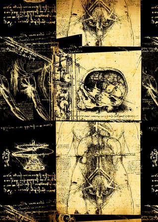 Leonardos Da Vinci engineering drawing from 1503 on textured background. photo