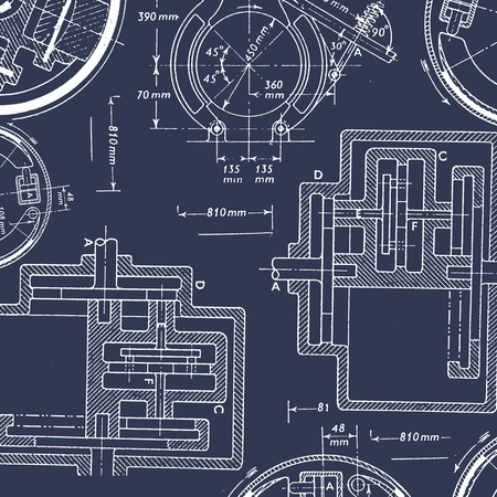 Engineering technical drawings for background Stockfoto