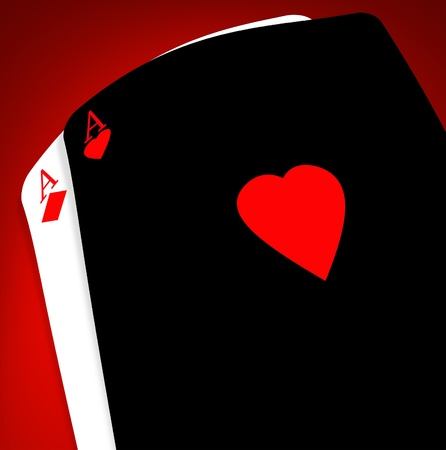 ace of hearts: Aces on a gradient background Stock Photo