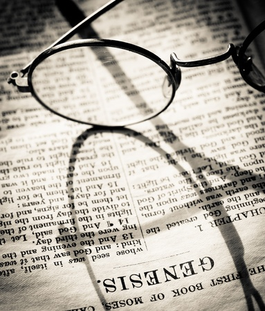 scripture: Close up of old Holy bible book Stock Photo