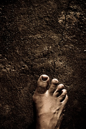 dirty man: Close up of Bare Feet Stock Photo