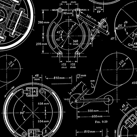 machinery: Engineering technical drawings for background Stock Photo