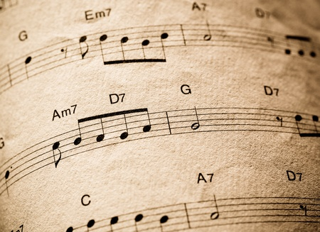 Close up of vintage musical musical pages photo