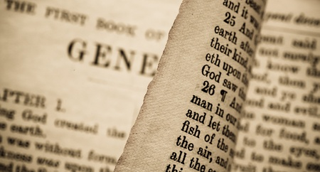 Close up of old Holy bible book Stock Photo