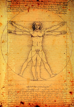 vitruvian man: Foto del hombre de Vitruvio de Leonardo Da Vinci de 1492 sobre la textura de fondo. Editorial