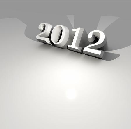 year 3d: 2012 Happy New Year ,3D art Stock Photo