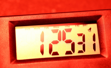 reflects: Close up of a  digital timer lcd