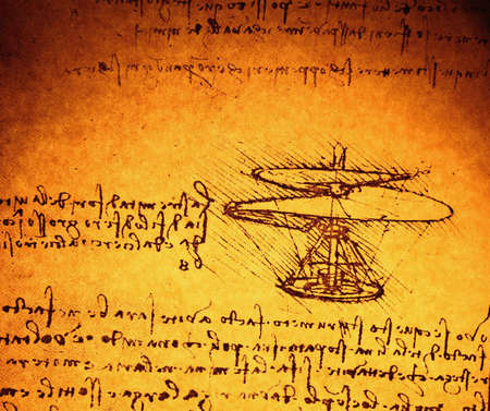 da vinci: Leonardos Da Vinci engineering drawing from 1503 on textured background.