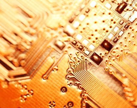 電子回路基板のクローズ アップ