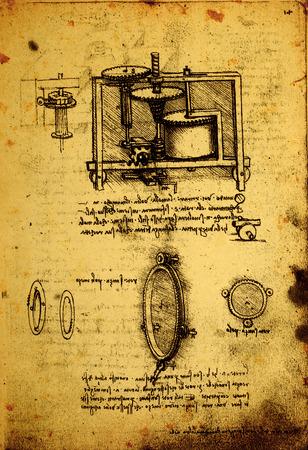 14th Century Leonardo da Vinci engineering drawing