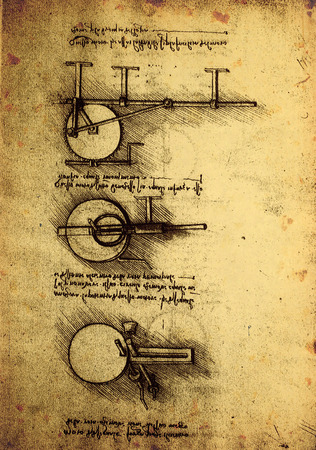 da vinci: 14th Century Leonardo da Vinci engineering drawing Editorial