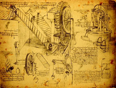 engineering drawing: 14th Century Leonardo da Vinci engineering drawing Editorial