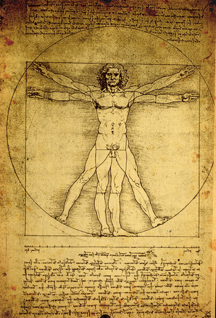 da vinci: Close up of Old anatomy drawings by Leonardo Da Vinci