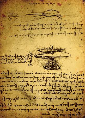14th: 14a Siglo dibujo de ingenier�a de Leonardo da Vinci