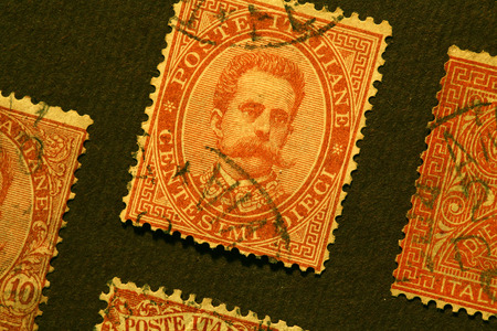 foreign nation: Close up of Old Postal Stamp Album Editorial