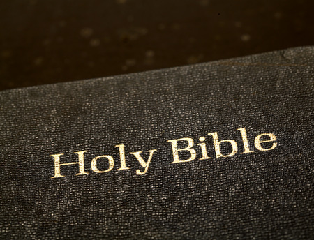 Close up Old Holy Bible Stock Photo