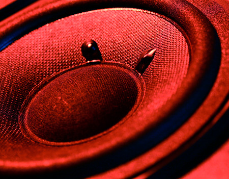 Closeup at moving sub-woofer photo