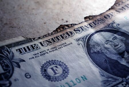 Close up of burnt dollar notes